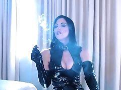 Asian Stunner In Leather Sundress Smoking In Motel