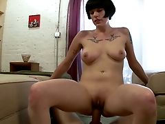Brief Haired Bosomy Miss Myra Rails And Jacks Off Strong Dick With Joy