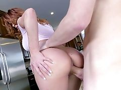 Sabrina Cyns Fucked In The Kitchen And Made To Gulp