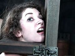 Curly-haired Cutie Getting Treated By Her Captor In The Basement