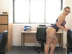 All Alone Office Hoe Beth Disrobes And Plays With Her Awesome Boobies