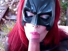 Mummy Shanda Fay Deep Throats Bone Outside As Batgirl