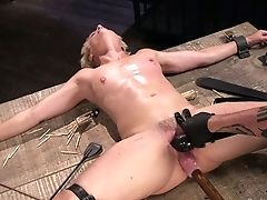 Deviant Dude Faux-cock Fucks Opened Up Twat Of Crucified On The Floor Bitch Helena Locke