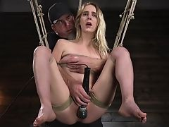 Skinny Blondie Cadence Lux Bellows During Torment Session. Hd