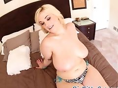 Chubby Cougar Gags On Fat Man-meat