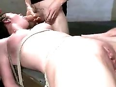 Smoking Hot Stunner Is Laying Down On The Table All Tied Up And Is Being Group Bangen By James Deen And His Friends Karlo Karrera, Owen Gray, Ramong N