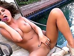What Can Be Nicer Than Amazing Mackenzie Miless Getting Off Near The Pool With A Lovemaking Fucktoys