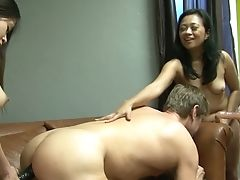 Kiki Daire And Her Nasty Gfs Fuck One Non-traditional Dude With The Help Of Belt Cock