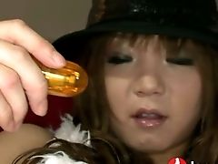 Curvy Japanese Chick In Sexy Hat Mizuki Ishikawa Pleases Her Kitty With Fancy Massager