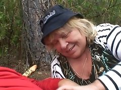 Running Stud Bangs A Horny Granny In The Old Forest By The Village