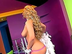 Dorothy Blacke Is A Brilliant Striptease Chick. She Is In Her Room Where She Flashes Her Big Boobies And Shaven Coochie With A Piercing On Her Pearl.