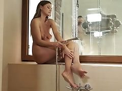 Lovely Graceful Honey Tina Kay Takes A Bathroom And Gives A Footjob