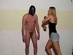 Stubborn Blonde Plays Around With A Masked Naked Dude