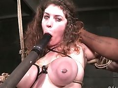 Harshly Strapped Euro Bitch Samsara Gets Her Mouth Equipment Fucked Hard