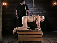 Tied Up Blonde Helena Locke Gets Her Tits And Vag Penalized