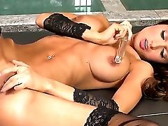 Euro Glamour Female In Black Stockings And High Heeled Footwear Is Talking So Dirty And Masturbating Very Well In This Cool Activity! Love Watching Al