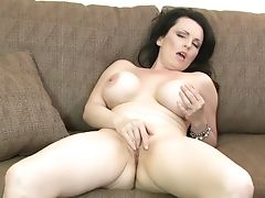 Bosomy Dark Haired Mummy Stacy Ray Is Interested In Petting Her Twat