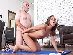 Youthfull Chick Entices Her Step Grandfather During Yoga Workout