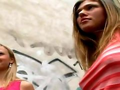 Arousing Fledgling Youthfull Looking Blonde And Black-haired Honies With Nice