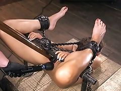 Tied Up And Suspended Chick Victoria Voxxx Gets Penalized By One Exotic Dude