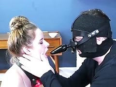 Dude In Belt Cock Mask Makes Subordinated Whore Suck His Bone And Feet