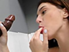 Slender Dark-haired Floozy Rails A Big Black Cock At The Gloryhole